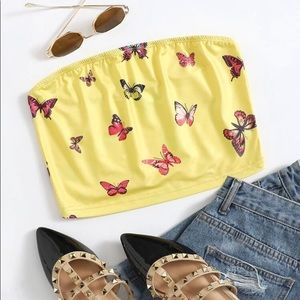 Butterfly Print Tube Top